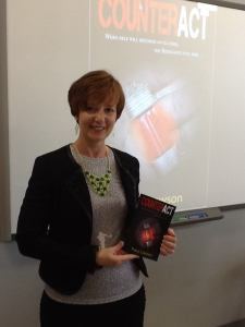 Tracy Lawson speaking to an English and Publishing class at Princeton High School.