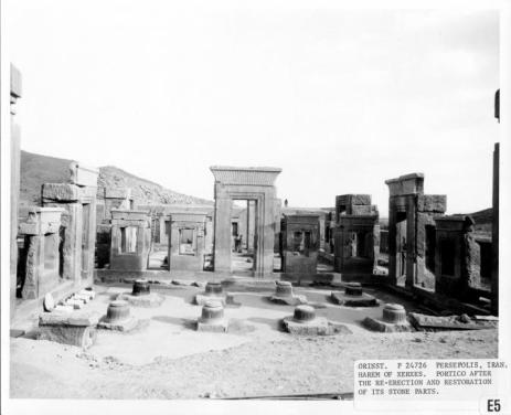 Xerxes Harem at Persa, stonework restoration