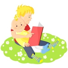 9468057 - two boys sitting on a green lawn with white flowers and read a book