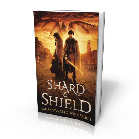 3D Book cover for Shard & Shield by Laura VanArendonk Baugh